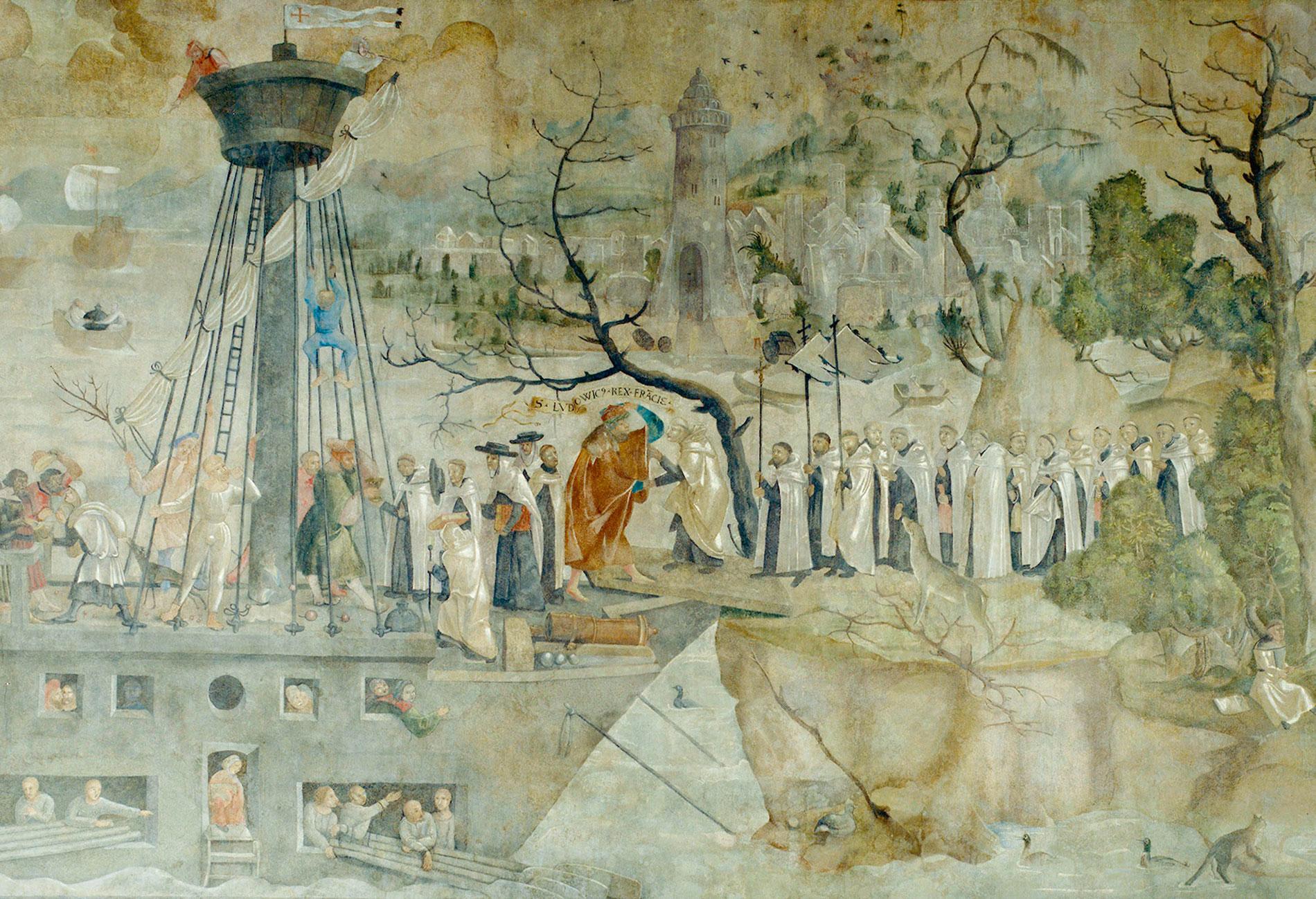 Jerg Ratgeb, Rettung der Karmeliter durch König Ludwig den Heiligen 1248, Wandgemälde im Refektorium des Karmeliterklosters Frankfurt am Main, 1517