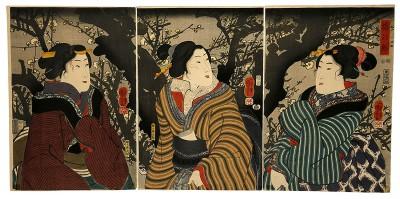 Utagawa Kuniyoshi, Die ersten Pflaumenblüten, 1847–1850, 37,5×76,6 cm; Museum für Angewandte Kunst Frankfurt am Main