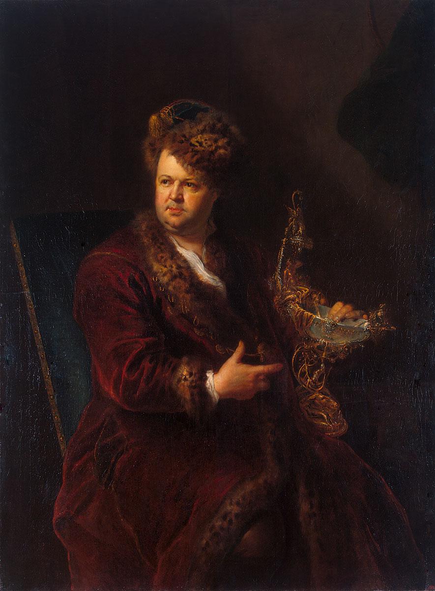 Antoine Pesne, Porträt Johann Melchior Dinglinger, um 1721, 149×110 cm; Eremitage St. Petersburg