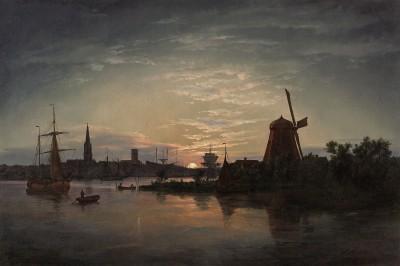 Johan Christian Dahl, Swinemünde bei Mondschein,1840, 54,5×82 cm, Pommersches Landesmuseum Greifswald