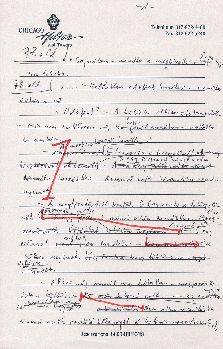 "Entwurf zur Novelle ""A nyomkeresö"" (1977, ""Der Spurensucher"")"