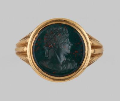 Goldener Siegelring mit Blutjaspis-Intaglio, Bildnis Georg IV. (1762-1830), Foto: Claus Cordes