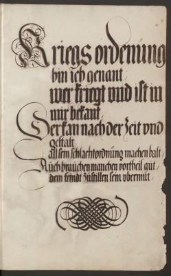 Kriegsordnung, Blatt 1 der Handschrift Abb.: Staatsbibliothek zu Berlin - PK