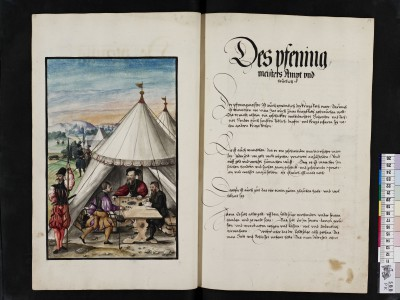 Kriegsordnung, Blätter 88/89: Miniatur Zahlmeister und Erläuterung Abb.: Staatsbibliothek zu Berlin - PK