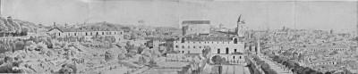 Eugène-Louis Lequesne, Blick auf Kloster und Kirche S. Trinità dei Monti, 26 x 125 cm, 1846 © Casa di Goethe