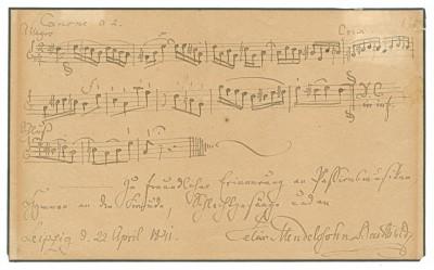 Felix Mendelssohn Bartholdy: Musikalisches Albumblatt an einen unbekannten Empfänger, Leipzig, 22. April 1841