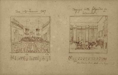 Felix Mendelssohn Bartholdy: Die beiden Bleistiftzeichnungen waren Teil eines Briefes, mit dem der Dirigent ein für den 1. Januar 1847 geplantes Konzert im Gewandhaus wegen Krankheit absagen musste.