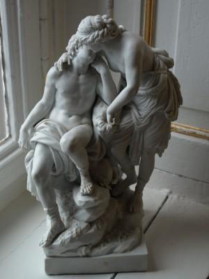 Meißner Bisquitporzellanfigur Diane und Endymion