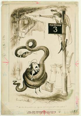 """Ronald Searle, """"Aber, Miss Merryweather, Sie haben doch gesagt, dass wir unsere Haustiere mitbringen könnten"""", 1951 (Lilliput, 1951) Deutsches Museum für Karikatur und Zeichenkunst - Wilhelm Busch"""
