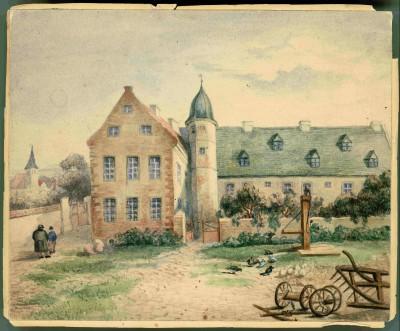 Schloss Oberwiederstedt um 1800. Aquarell im Familienalbum, 17,5 x 21,5 cm (Teil des Erwerbs)