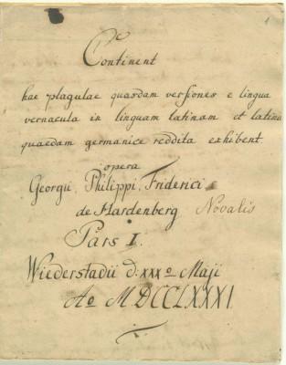 Lateinheft von Friedrich von Hardenberg, angelegt am 30. Mai 1781