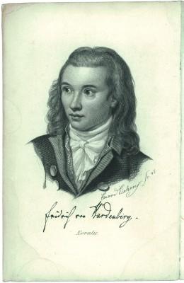 """Novalis Porträt - Kupferstich von Eduard Eichens, Berlin 1845 Erstveröffentlichung in Band 3 der """"Schriften"""" von Novalis, Berlin 1846 (Nicht Teil des Erwerbs)"""
