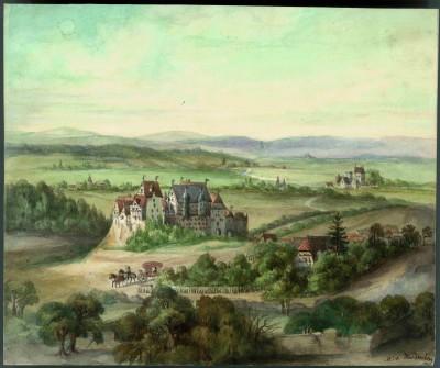 Das alte Schloss Hardenberg bei Göttingen. Nach Merian. Vor dem 30-jährigen Krieg, Stammsitz der drei Linien Hardenberg. Aquarell im Familienalbum, 17,5 x 21 cm
