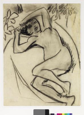 Ernst Ludwig Kirchner, Großes liegendes Mädchen (Fränzi) im Wald, 1909/10, 89,5 x 69 cm © Brücke-Museum
