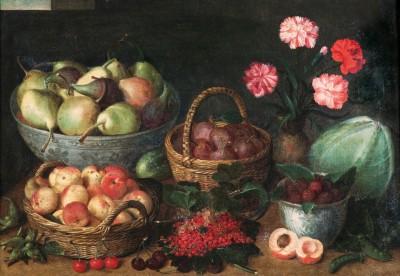 Isaak Soreau, Früchtekörbe, Früchteschale, Porzellankumme, Blumenvase mit Nelken und Gemüse, 1645 © Historisches Museum Hanau – Schloss Philippsruhe / Philippa Pfahler, Frankfurt