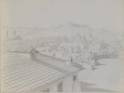 Philipp Gerhard Stöhr, Via Gregoriana/Piazza Trinità dei Monti, 20 x 26 cm, um 1820 © Casa di Goethe
