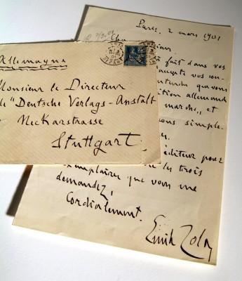 Brief von Émile Zola an die DVA, 2. März 1901.