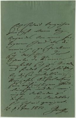 Eigenhändiger Neujahrsgruß Goethes an Friederike vom 1.1.1812