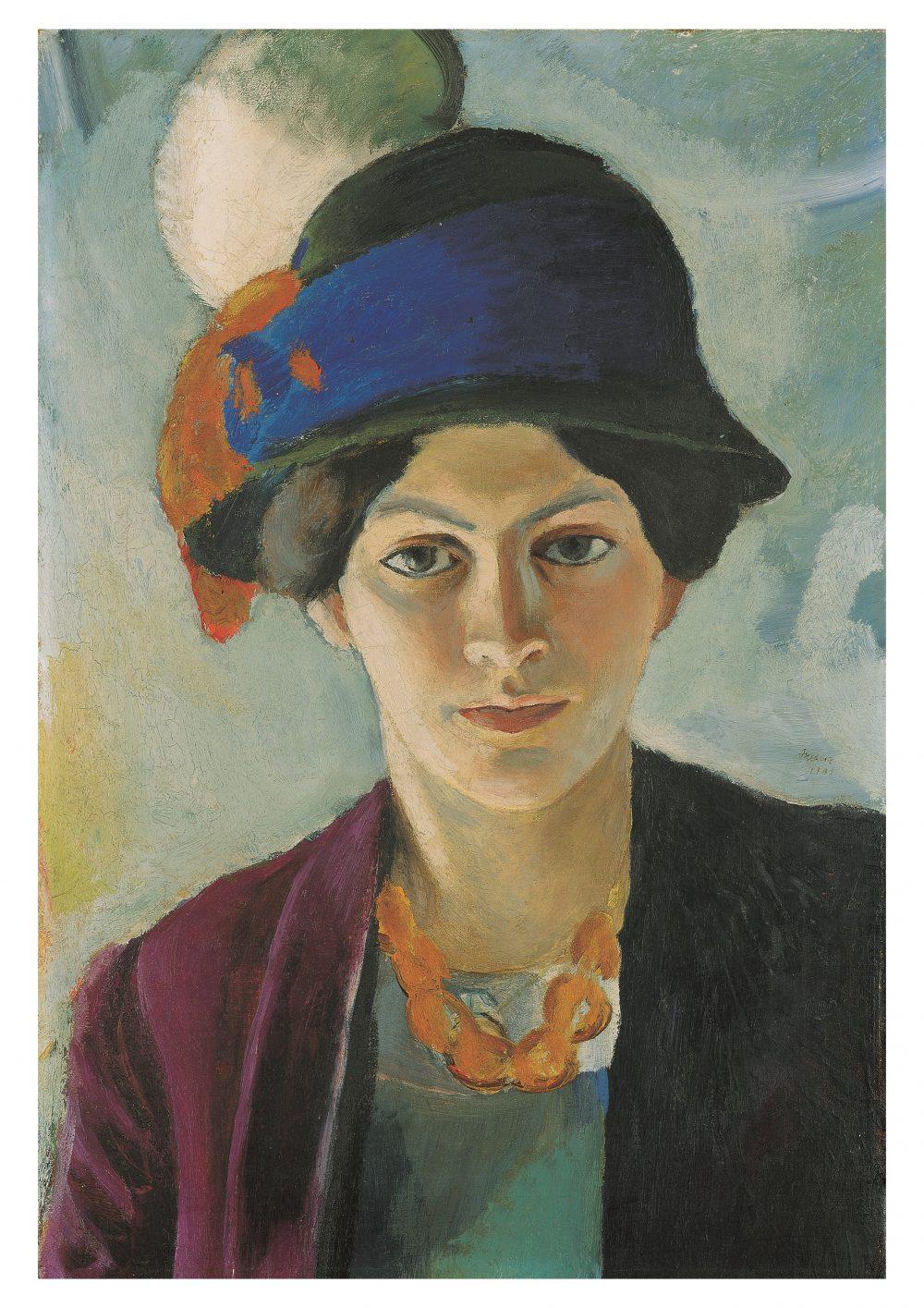August Macke, Frau des Künstlers mit Hut (Detail), 1909, 50,2 x 43,5 cm; © LWL-Museum für Kunst und Kultur (Westfälisches Landesmuseum)/Macke Archiv