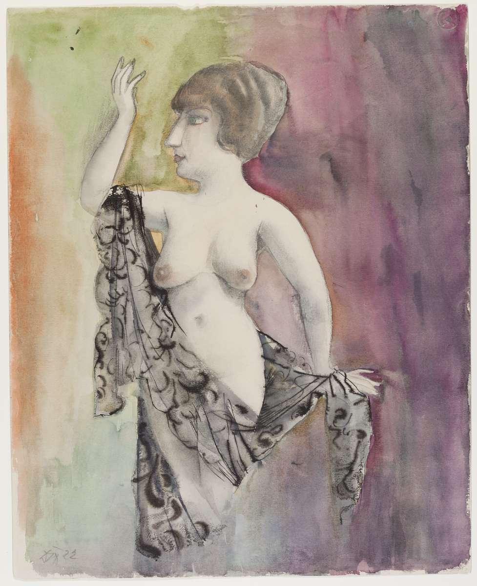 Otto Dix, Weiblicher Akt/Frau mit Schleier, 1922, Aquarell, 48 x 38,5 cm, Kunsthalle Mannheim © VG Bild-Kunst, Bonn 2015/Foto: Cem Yucetas, Kunsthalle Mannheim