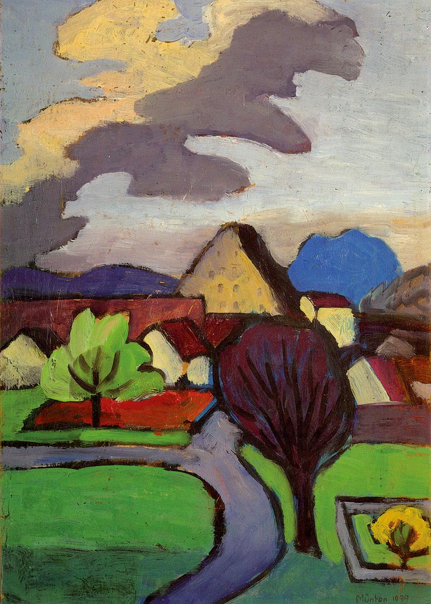 Gabriele Münter, Dorf mit grauer Wolke, 1939, 47,5 × 33,5 cm; Schloßmuseum Murnau