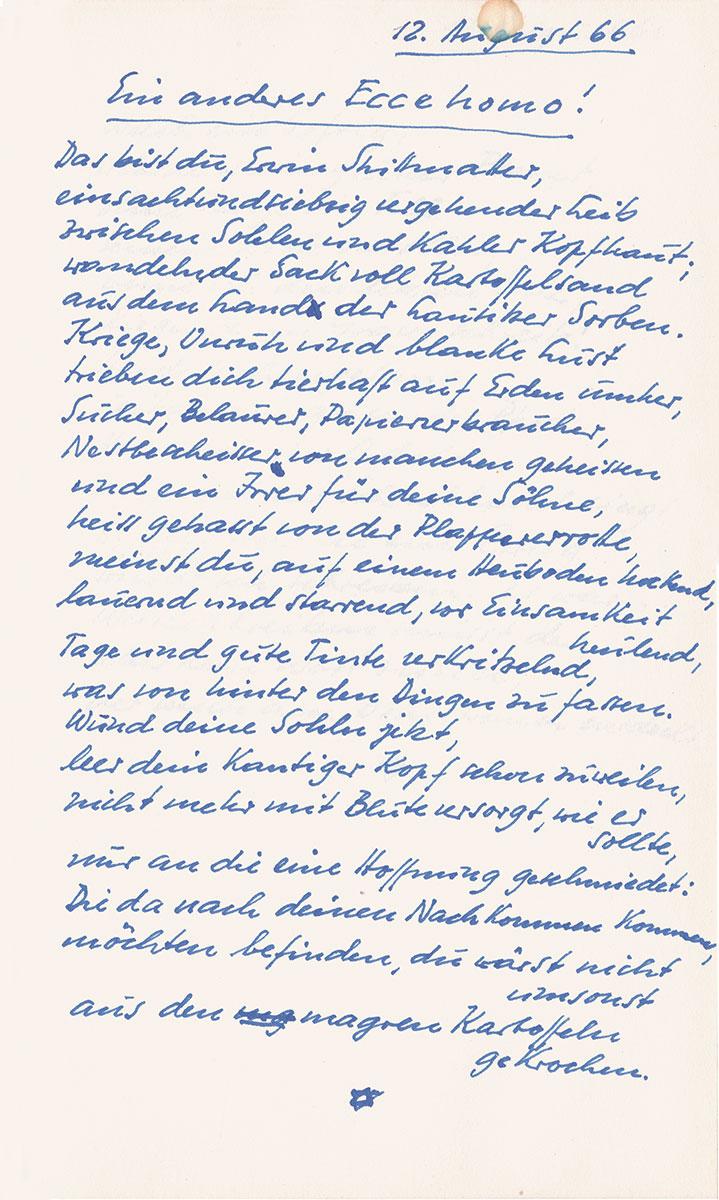 """Erwin Strittmatter, Ein anderes Ecce homo!, aus seinem Reflexionsband """"Selbstermunterungen"""", Fassung vom 12. August 1966; Akademie der Künste, Erwin-Strittmatter-Archiv, Berlin"""