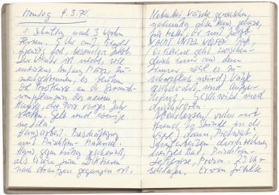 Eva Strittmatter, Tagebuch, 17. Dezember 1973 – 17. März 1974, Schulzenhof, Eintrag vom 4. März 1974; Akademie der Künste, Eva-Strittmatter-Archiv, Berlin