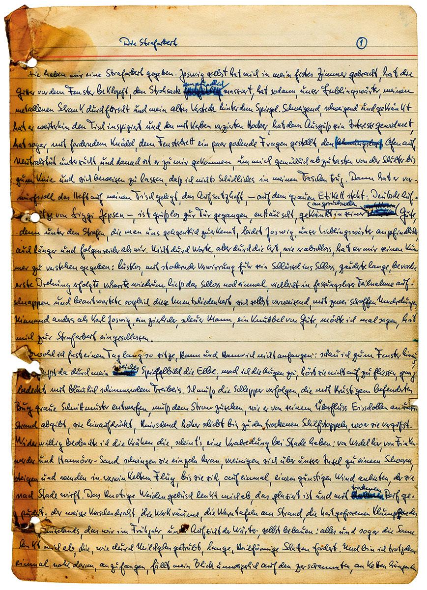 """Siegfried Lenz, Erste Manuskriptseite seines Romans """"Deutschstunde"""", 1967; Nachlass Siegfried Lenz, Deutsches Literaturarchiv Marbach"""