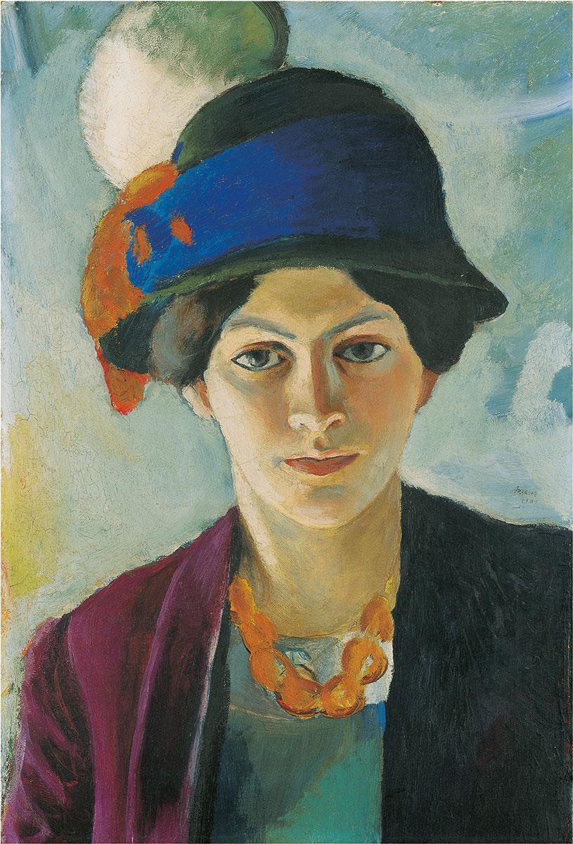 August Macke, Frau des Künstlers mit Hut, 1909, 50,2 × 43,5 cm; LWL-Museum für Kunst und Kultur, Münster