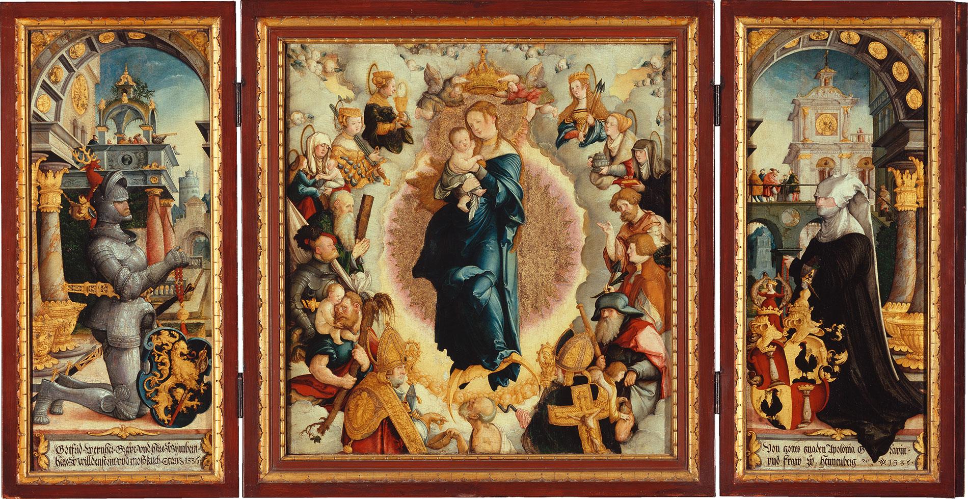 Meister von Meßkirch, Wildensteiner Altar im geöffneten Zustand, 1536, Mitteltafel 64 × 60 cm, Drehflügel je 68 × 28 cm; Staatsgalerie Stuttgart