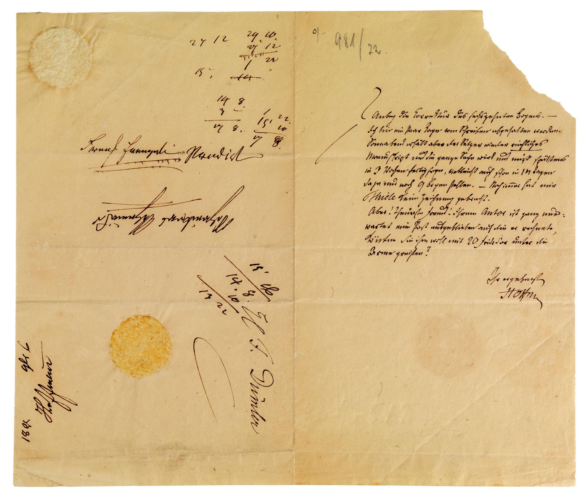 Brief E. T. A. Hoffmanns an den Berliner Verleger Ferdinand Dümmler vom 6. November 1821