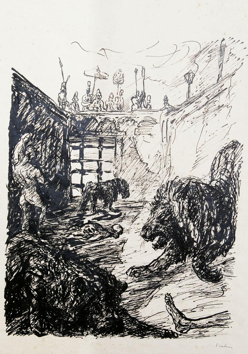 """Alfred Kubin, Daniel in der Löwengrube, Federzeichnung aus der Mappe """"Prophet Daniel"""", 1913, 38×29 cm"""