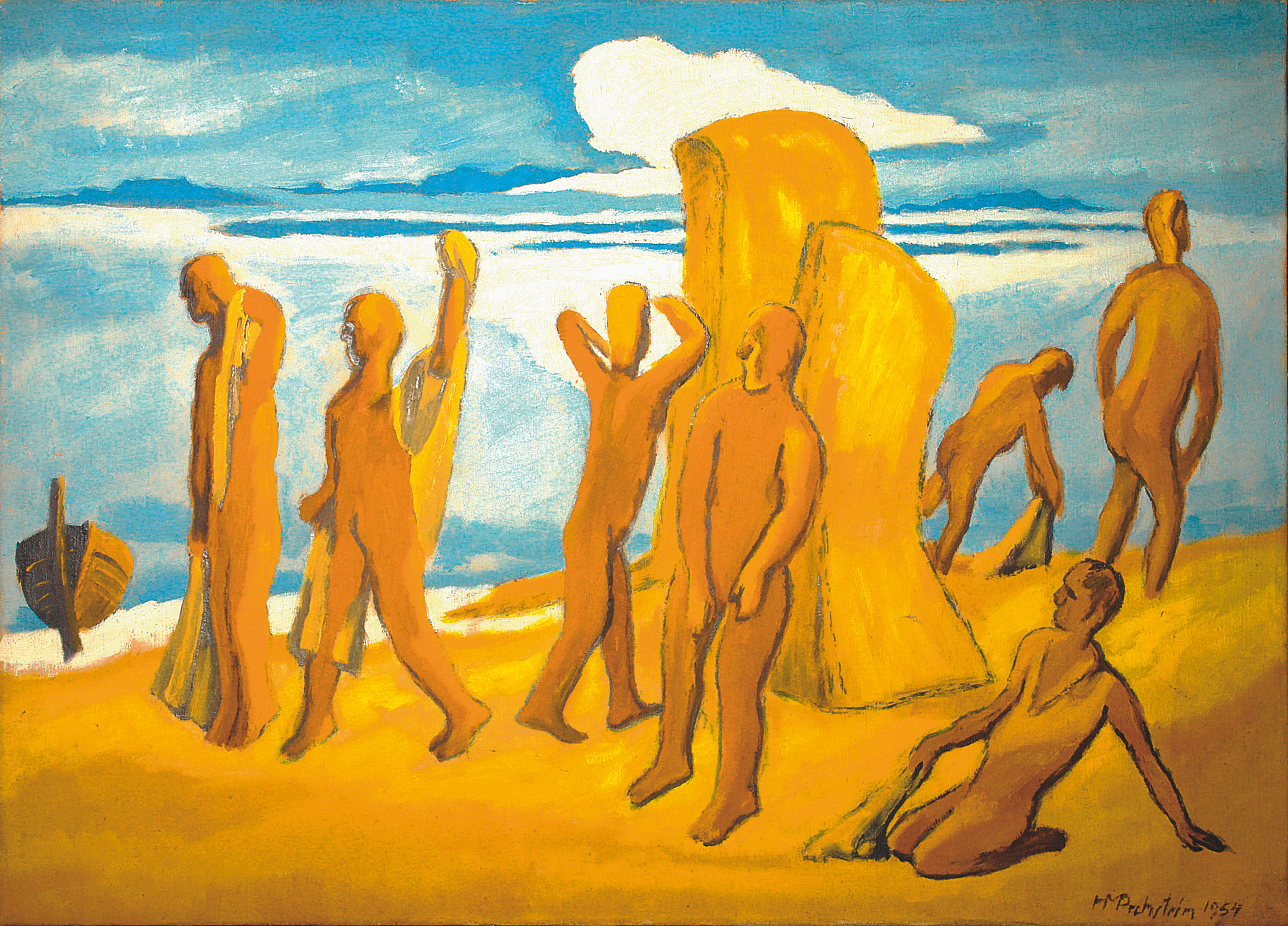 Max Pechstein, Am Strand, 1954, 80×110 cm