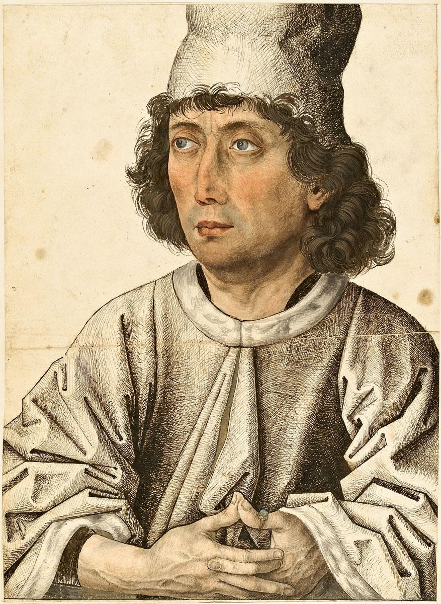 """Meister des Mornauer-Bildnisses (?), Bildnis eines jungen Mannes, um 1470/80, 32,5×23,6 cm, aus dem """"Kleinen Klebeband"""""""