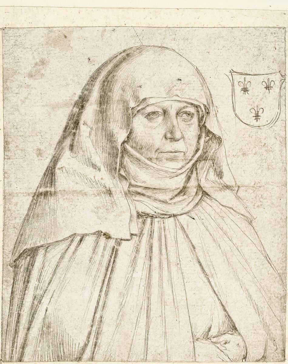 """Hans Holbein d. Ä., Bildnis einer Nonne aus der Augsburger Familie Vetter, um 1499, 16,2×13,6 cm, aus dem """"Kleinen Klebeband"""". Studie zu einer Stifterfigur auf dem """"Epitaph der Schwestern Vetter"""" der Staatsgalerie Alte Meister, Augsburg"""