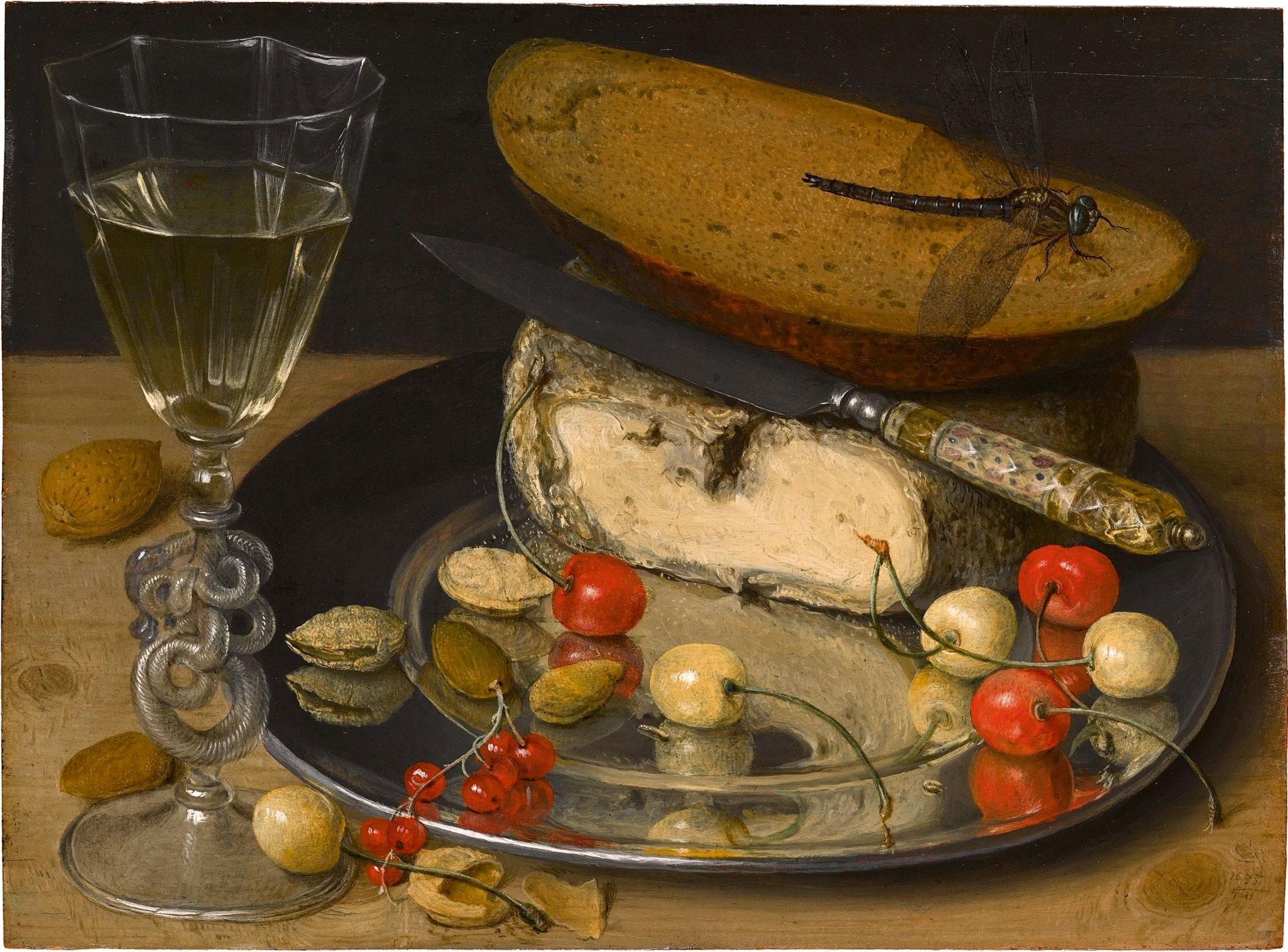 Georg Flegel, Stillleben mit Käse und Kirschen, 1635, 18,3×24,8 cm; Staatsgalerie Stuttgart