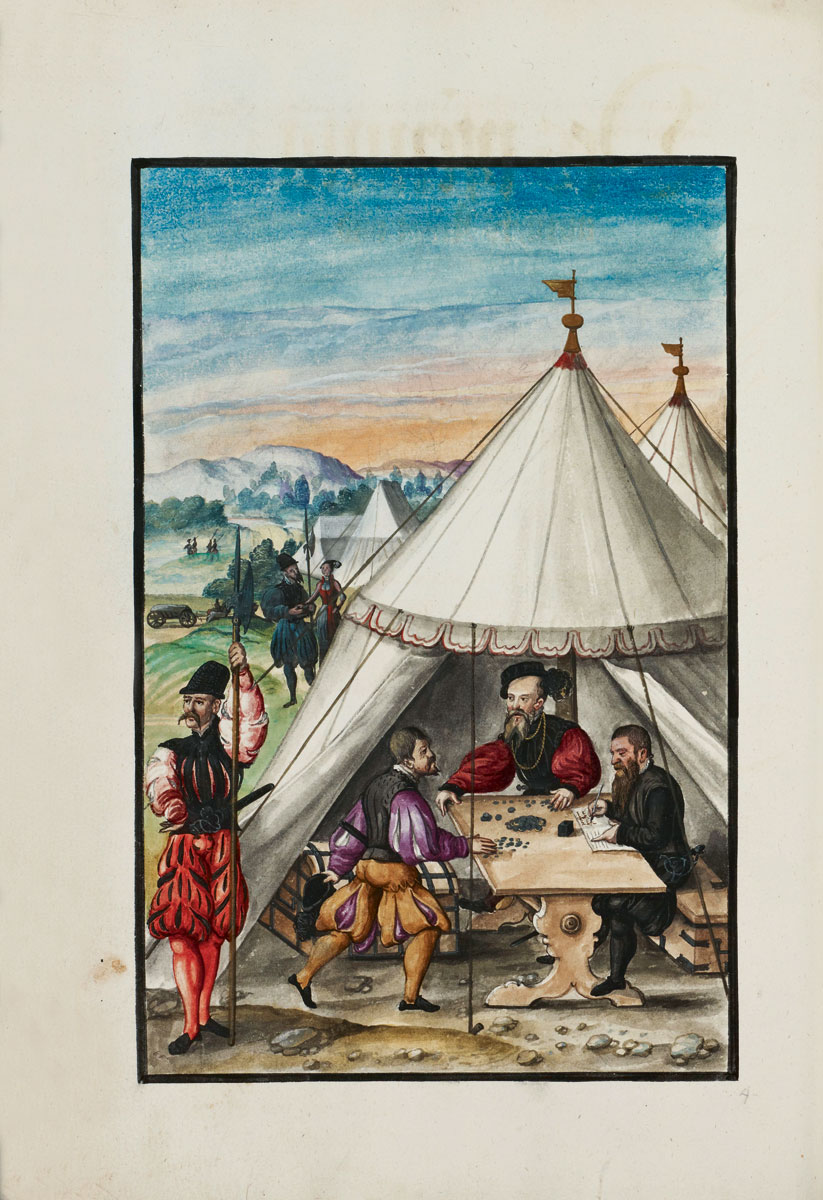Kriegsordnung Albrechts von Brandenburg, 1555, 39×26 cm, Blätter 88/89, Miniatur Zahlmeister und Erläuterung