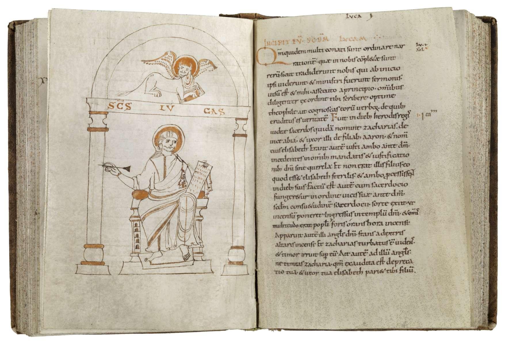 Zeichnung des Evangelisten Lukas, lateinisches Evangeliar, um 1000, Niedersachsen (?), Perga-ment, 189 Bl., 19,9 x 13,7 cm (Ausschnitt) © Staatsbibliothek Bamberg, Foto: Gerald Raab