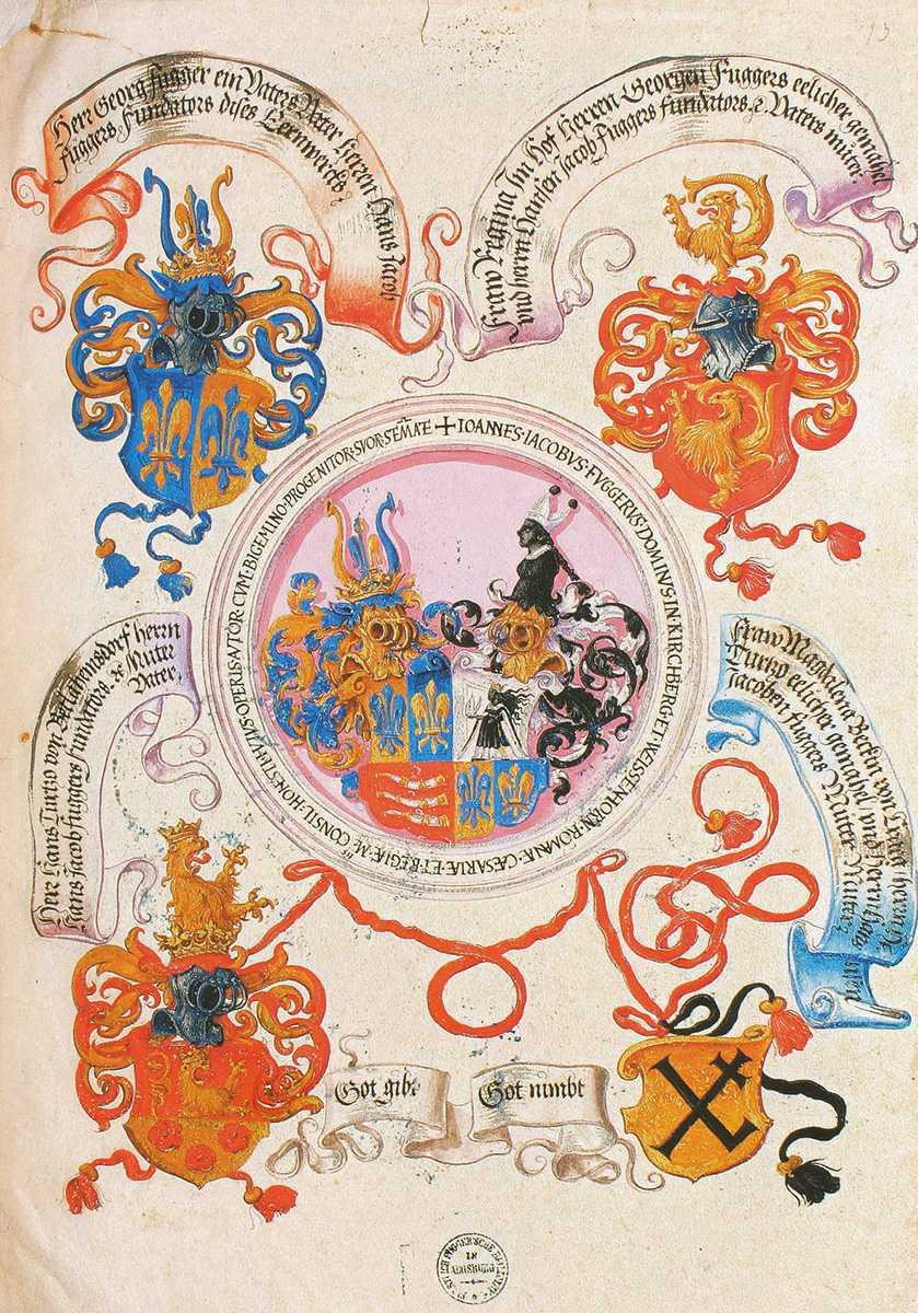 Ahnenprobe Hans Jakob Fuggers-im Zentrum ein reich dekorierter Fünfeckschild mit dem Wappen der Fugger von Kirchberg und Weißenhorn
