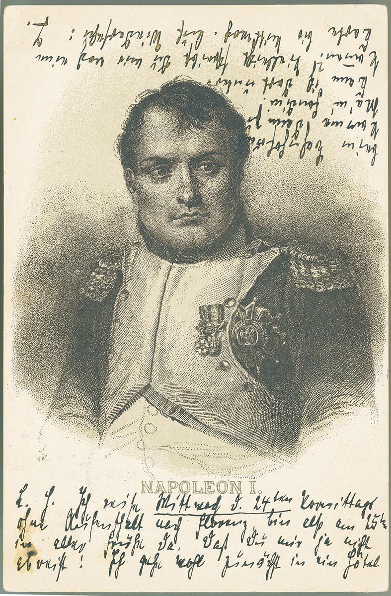 Postkarte von Thomas Mann an seinen Bruder Heinrich mit Napoleon-Porträt