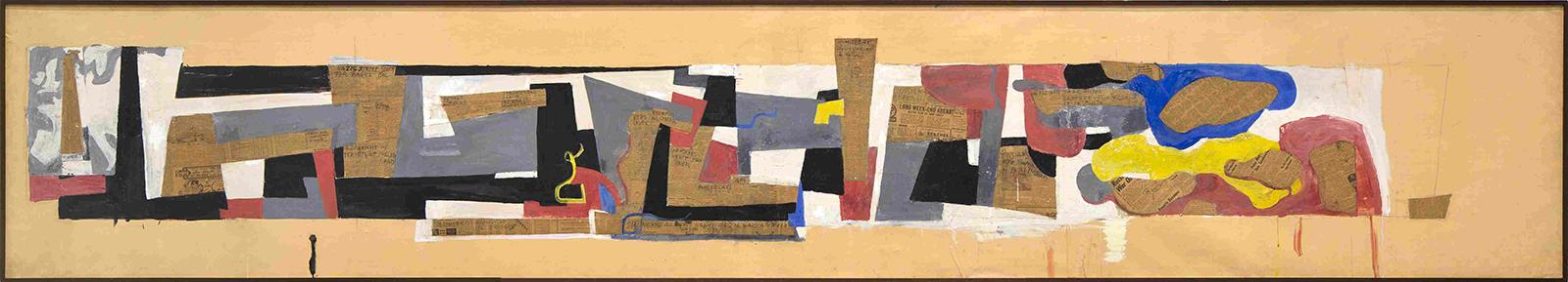 Hans Richter, Stalingrad (Sieg im Osten),1943/46, Rollenbild, Tempera, Collage auf Papier über Leinwand, 94 x 512 cm