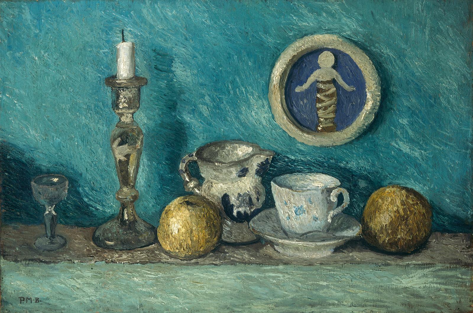 Paula Modersohn-Becker, Stillleben mit Robbia-Putto, um 1905, Öl oder Tempera auf Leinwand, 50 x 75 cm