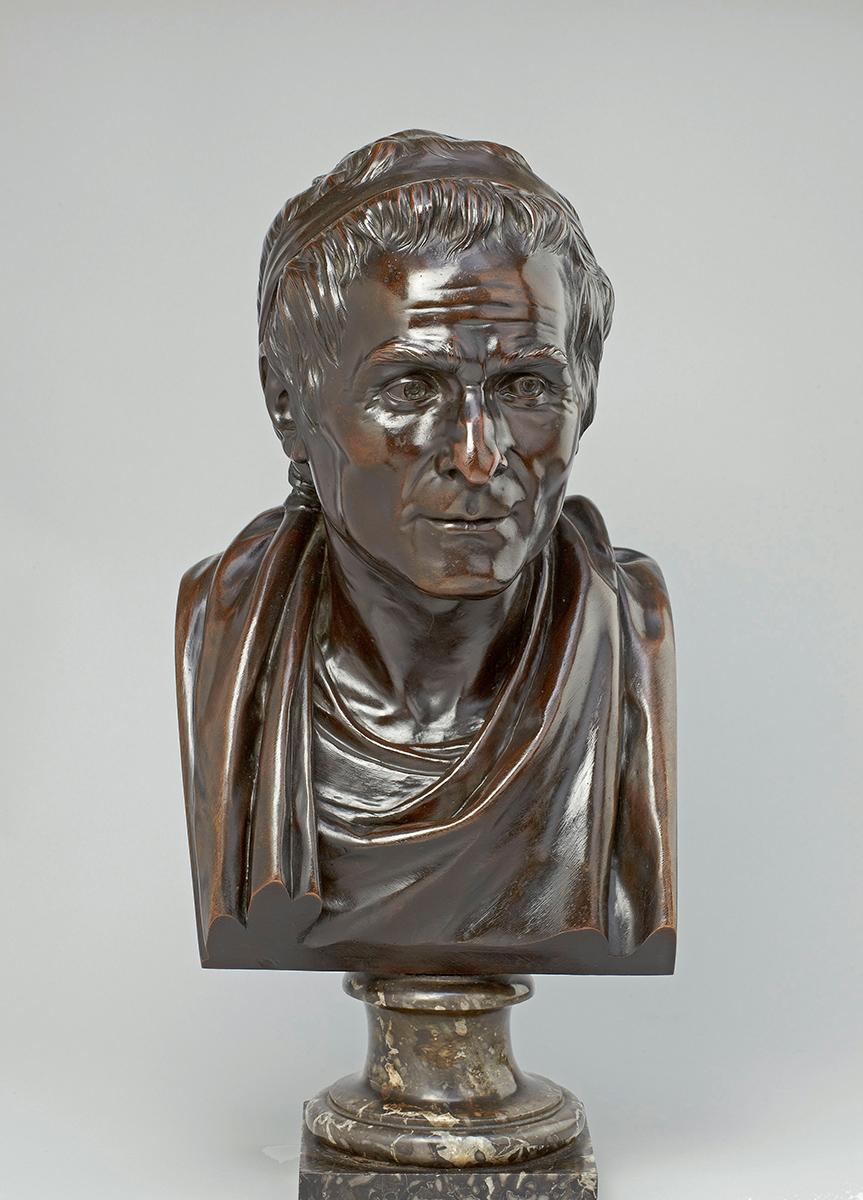 "Jean-Antoine Houdon (1741–1828), ""Jean-Jacques Rousseau"", Bronze, um 1780, Höhe 45 cm, Höhe mit Sockel 57,5 cm, Liebieghaus Skulpturensammlung, Frankfurt am Main, Foto: Liebieghaus Skulpturensammlung"