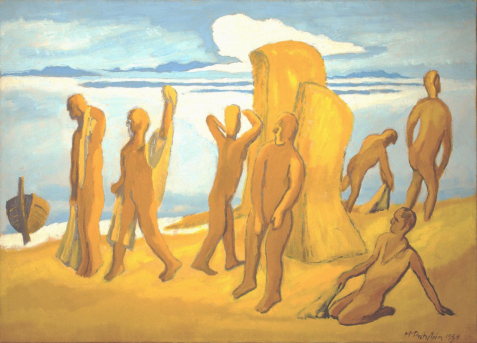 Max Pechstein, Am Strand, 1954, Öl auf Leinwand, 80 x 110 cm, © 2011 Pechstein - Hamburg/ Tökendorf, Foto: Alexander Pechstein