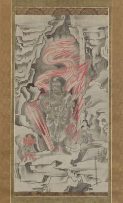 Reizei (Okada) Tamechika, Der buddhistische Weisheitskönig Fudō Myōō, Hängerolle, Tokugawa-Zeit ca. 1855–1858, 71.5 x 37.5 cm; Sammlung Klaus F. Naumann , Museum für Asiatische Kunst, Staatliche Museen zu Berlin