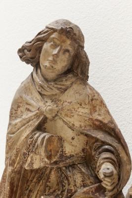 Daniel Mauch (1477-1540): Hochrelief mit der Verkündigung an Maria, um 1510/15, Ulm, Holz, Reste farbiger Fassung, 92 x 103 x 13,5 cm (Ausschnitt) © Ulmer Museum, Foto: Oleg Kuchar, Ulm