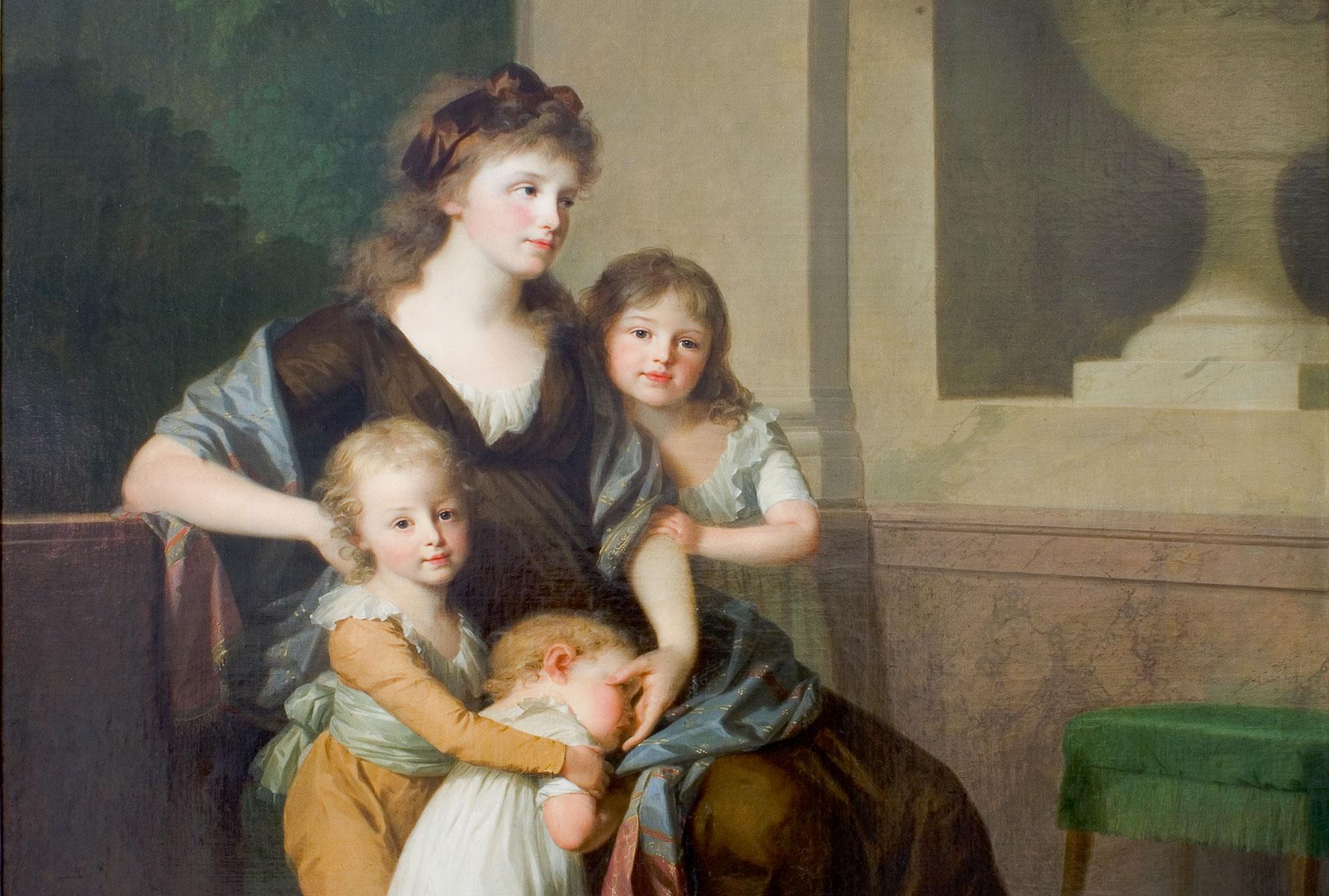 Johann Friedrich August Tischbein, Christiane Amalie von Anhalt-Dessau mit ihren Kindern, 1798 (Ausschnitt)