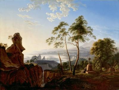 Carl Blechen (zugeschrieben), Landschaft mit Eremit, um 1822, Fürst-Pückler-Museum, Branitz