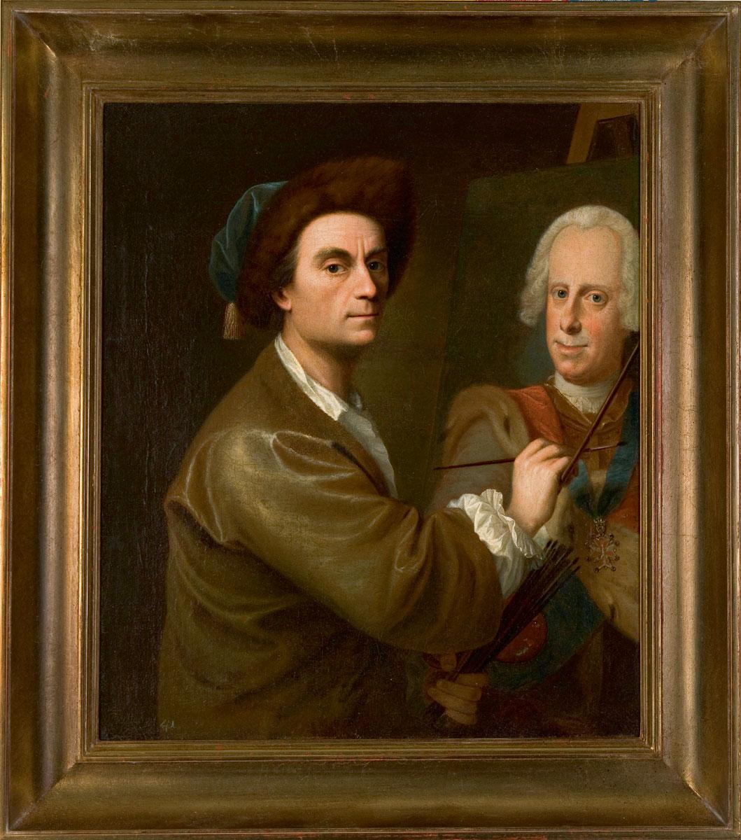 Johann Christian Fiedler, Selbstbildnis mit dem Porträt des Landgrafen Ludwig VIII. von Hessen-Darmstadt, 1752