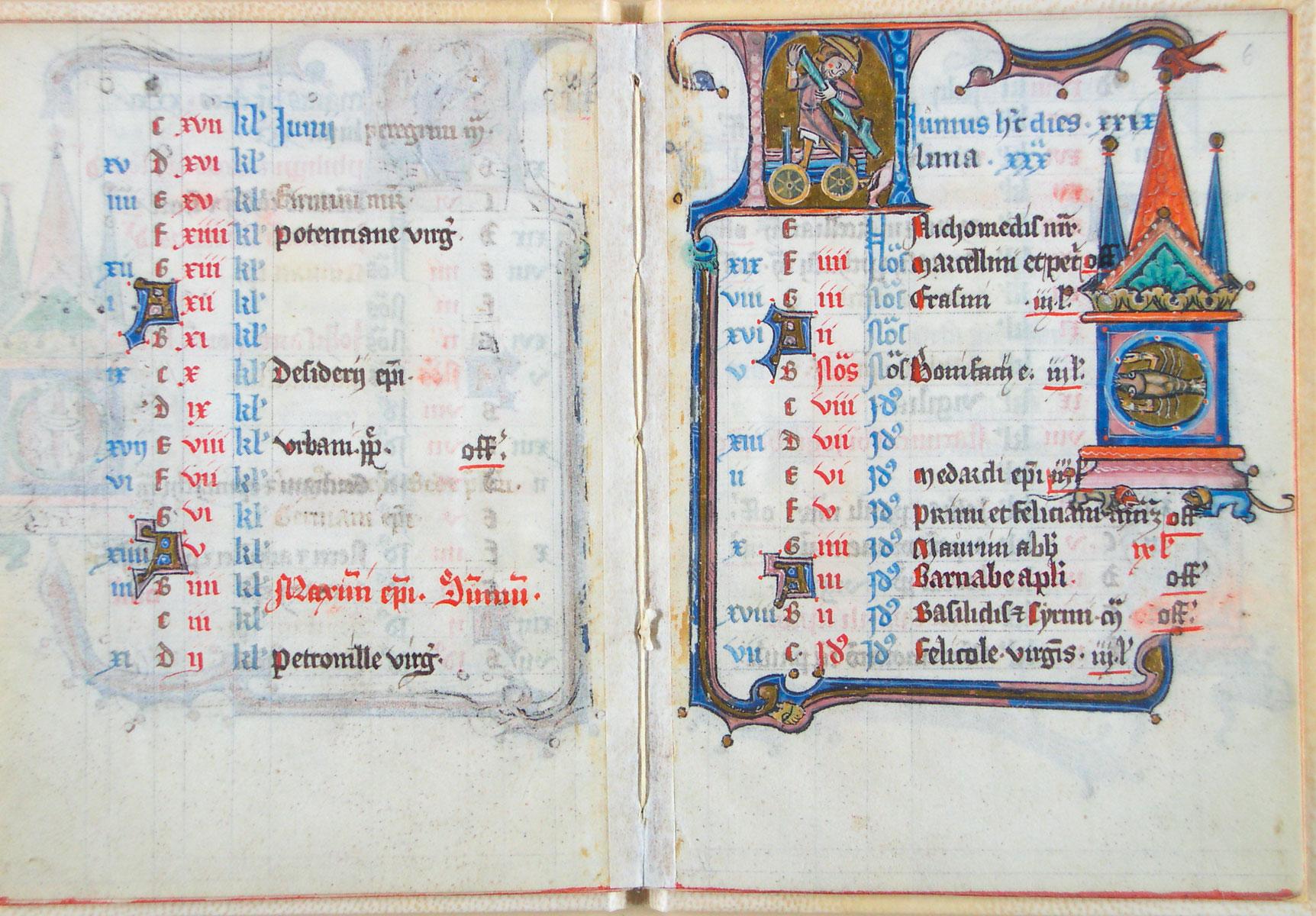 Kalenderblatt zum Monat Juni, Zustand vor dem Einsturz des Archivs (Historisches Archiv der Stadt Köln, Best. 7020 (W*) 406)